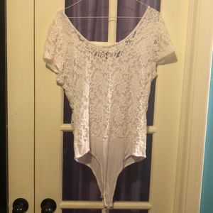 Body Central Tops - Body Central White Lace XL Top Onesie